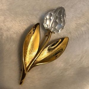 Beautiful Gold Tulip Crystal Brooch
